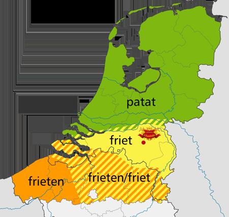 Kaart Nederland friet en patat